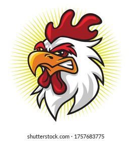 Angry Rooster Head Mascot Logo Premium Vector Cartoon Illustration