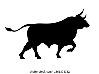 Angry running bull icon illustration isolated on white background