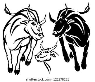 angry running bull vector illustration - black and white outline