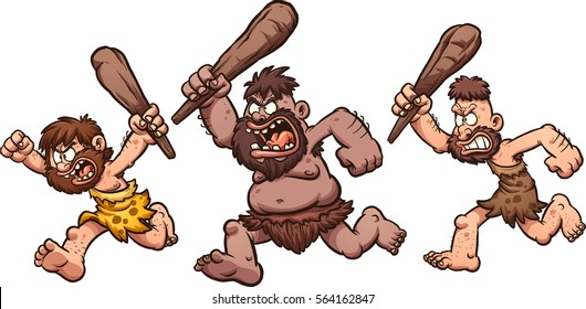 Angry running cavemen. Vector clip art illustration with simple gradients. Each on a separate layer.