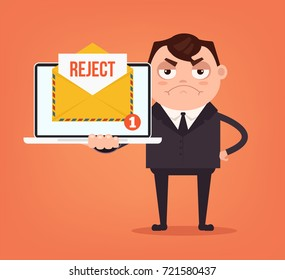 Angry sad businessman office worker man character receive reject letter document envelope by email online web site. Vector flat cartoon illustration