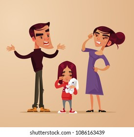 Angry sad parents man woman characters quarrel near girl child daughter. Family problems. Vector flat cartoon illustration
