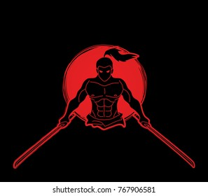 Angry Samurai standing with swords front view designed on sunlight background graphic vector.