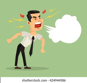 Angry screaming man. Vector flat cartoon illustration