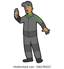 Angry seller with phone in hand. Color vector flat illustration isolated on white background.