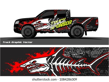 Angry shark face decal design for truck and vehicle vinyl wrapping