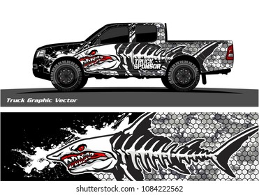 Angry shark face vector decal wrap design for truck and vehicle branding