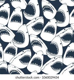 angry shark fish with open mouth head vector doodle pattern