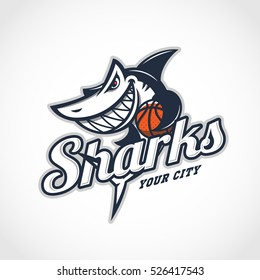 Angry shark mascot for basketball team with title. Vector illustration.