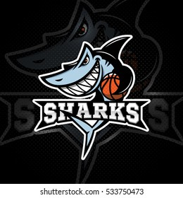 Angry shark mascot for a basketball team on a dark background with title. Vector illustration.