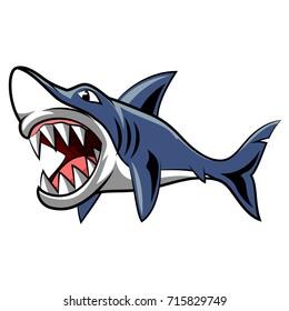 Angry shark mascot. Vector Illustration