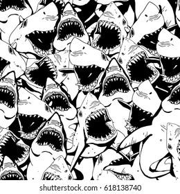 Angry Shark Seamless Pattern. Sea Life Hand Drawn Illustration.