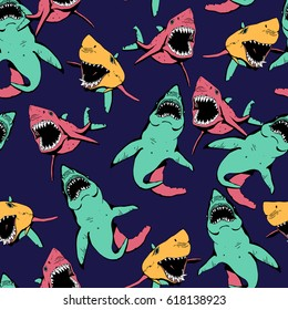 Angry Shark Seamless Pattern. Sea Life Hand Drawn Illustration.