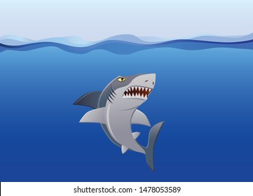 Angry shark swimming under the ocean vector