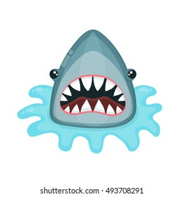 angry shark vector flat illustration. isolated on white background