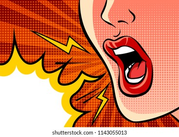 Angry shouting female mouth and empty speech bubble. Pop art vector comic illustration.