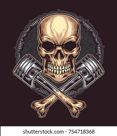 Angry Skull with Cross Bone Piston