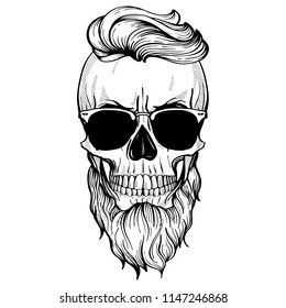 Angry skull with hairstyle, beard and sunglasses, line art