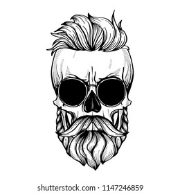 Angry skull with hairstyle, moustaches, beard and sunglasses, line art