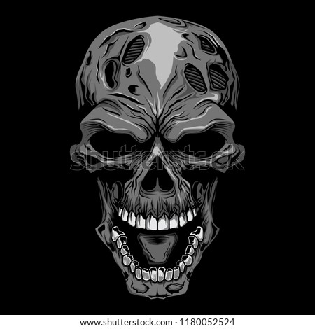 angry skull head gray scale zombie face