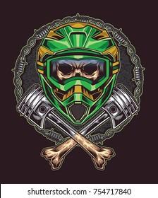 Angry Skull Head with Helmet Motorcross and Cross Bones