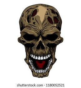 angry skull head vector illustration zombie face