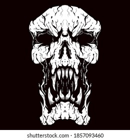 angry skull head vector logo design
