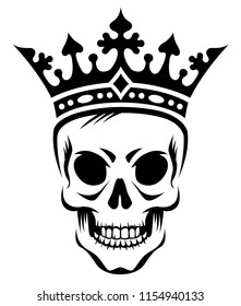 Angry skull of king in crown, stylized black illustration at graffity style isolated on white background