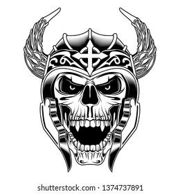 angry Skull viking vector illustration