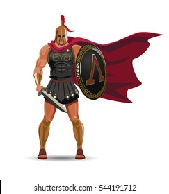 Angry spartan warrior with armor and hoplite shield