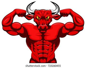 Angry strong bull mascot. vector illustration