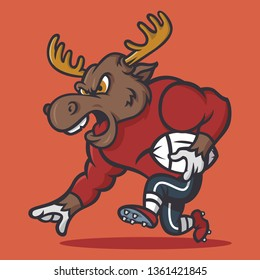 Angry strong moose in football vintage mascot