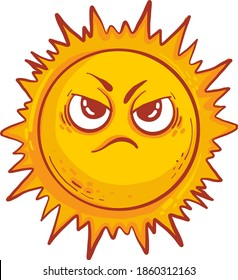 Angry sun, illustration, vector on white background.