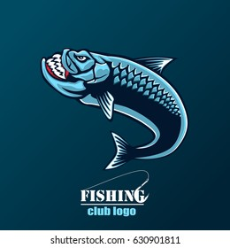 Angry tarpon fish logo. Tarpon fishing emblem for sport club. Angry fishing background theme vector illustration.