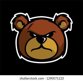 angry teddy bear head vetor