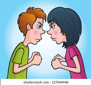 Angry Teen Boy and Girl Staring At Each Other