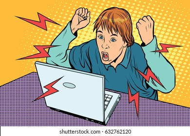 Angry teenager sitting at computer laptop. Pop art retro vector illustration