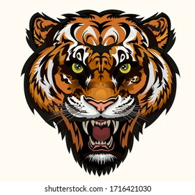Angry tiger face. Color tattoo