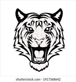 angry tiger face vector image. tiger logo vector for company. logo art