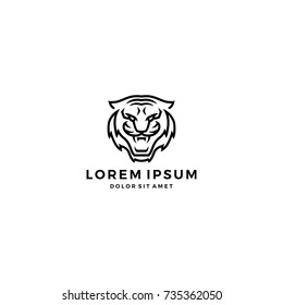 angry tiger head face logo vector icon template