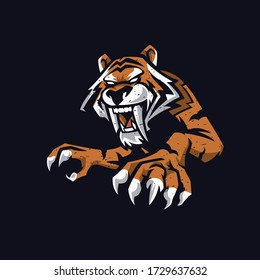 Angry tiger with long fangs. Vector illustration element isolated on dark background. Good for T shirt, poster, mascot and emblem.