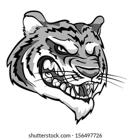 Angry Tiger mascot. Monochrome version.