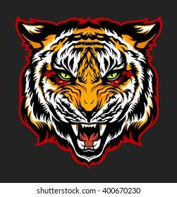 Angry tiger. Mascot. Vector illustration.