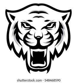 Angry tiger sport mascot logo head on white background. Vector illustration.