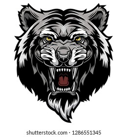 Angry Tiger, wild big cat head. Aggressive predator with bared teeth, t-shirt print design