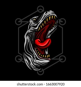 angry t-rex dinosaur head with sacred geometry hand drawn illustration for t-shirt and other merchandise.