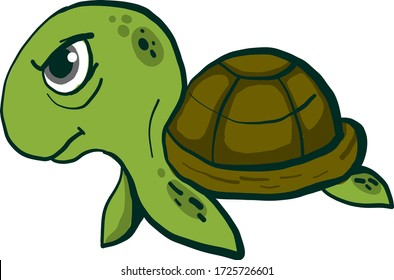 Angry turtle, illustration, vector on white background