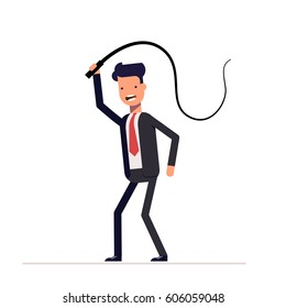 Angry tyrant businessman or manager beating with a whip. Demonstration of power of power and superiority over other people. Flat character isolated on white background.