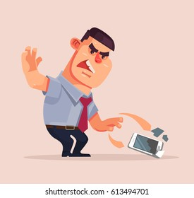 Angry unhappy businessman character throwing mobile phone and smash it. Vector flat cartoon illustration