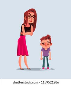 Angry unhappy mother character scold her son. Vector flat cartoon illustration